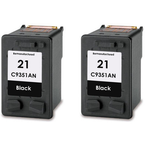 Twin Pack - Remanufactured replacement for HP 21 (C9351AN) black ink cartridges