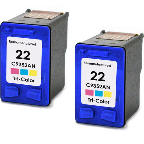 Twin Pack - Remanufactured replacement for HP 22 (C9352AN) color ink cartridges