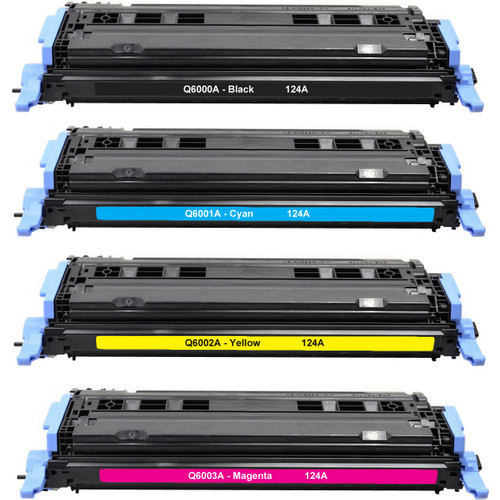 4 Pack - Remanufactured replacement for HP 124A series toner cartridges (Q6000A, Q6001A, Q6002A, Q6003A)