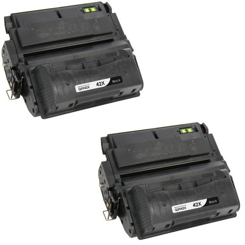 Twin Pack - Compatible replacement for HP 42X (Q5942X) black laser toner cartridge