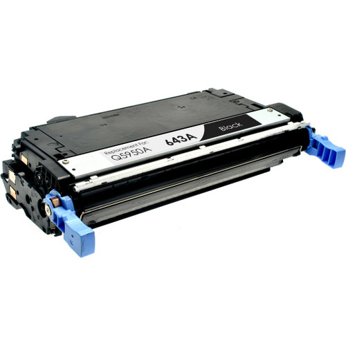 Remanufactured replacement for HP 643A (Q5950A) black laser toner cartridge