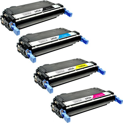 4 Pack - Remanufactured replacement for HP 643A series laser toner cartridges (Q5950A, Q5951A, Q5952A, Q5953A)