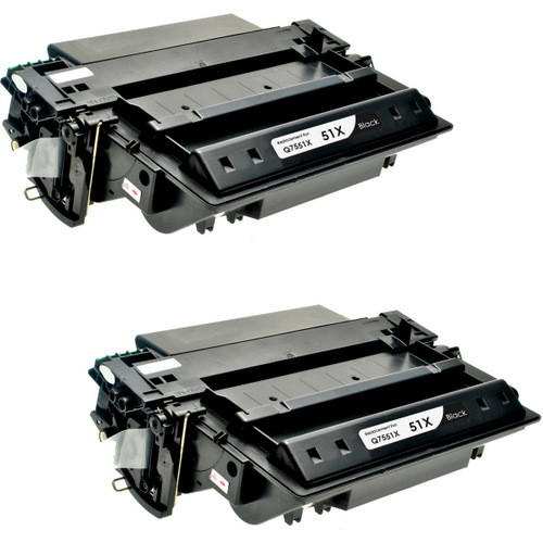 Twin Pack - Compatible replacement for HP 51X (Q7551X) black laser toner cartridge