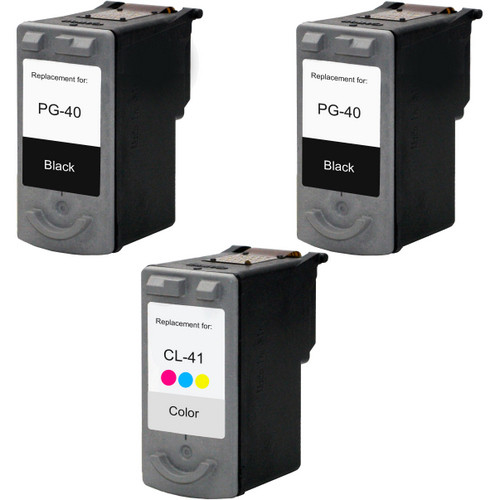 3 Pack - Remanufactured replacement for Canon PG-40 and CL-41 series ink cartridges