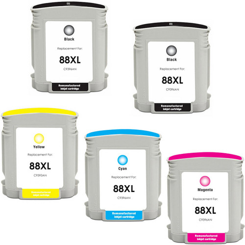 5 Pack - Remanufactured replacement for HP 88XL series ink cartridges