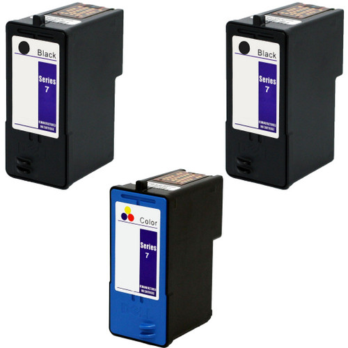3 Pack - Remanufactured replacement for Dell series 7 ink cartridges