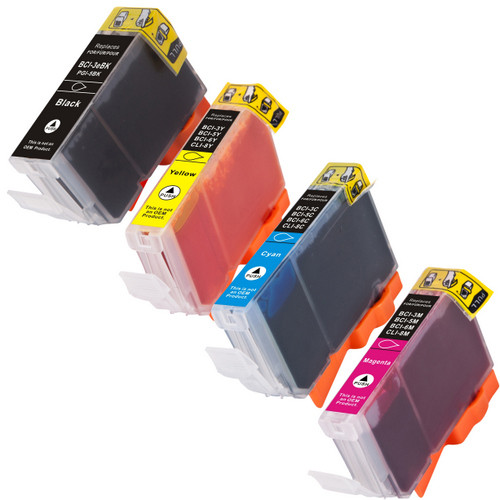 4 Pack - Compatible replacement for Canon PGi-5 Black and Cli-8 Color series ink cartridges