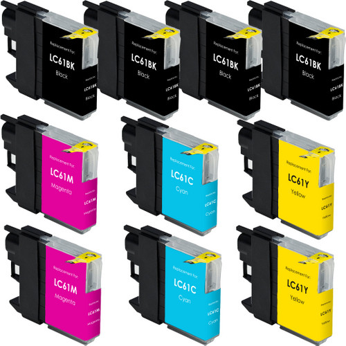 10 Pack - Compatible replacement for Brother LC61 series ink cartridges