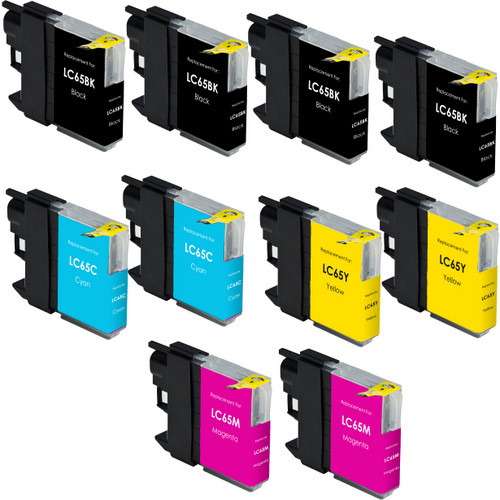 10 Pack - Compatible replacement for Brother LC65 series ink cartridges