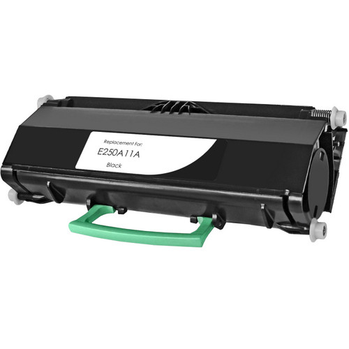 emanufactured replacement for Lexmark E250A11A black toner cartridge