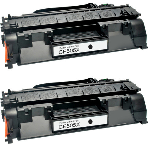 Twin Pack - Compatible replacement for HP 05X (CE505X) black laser toner cartridge