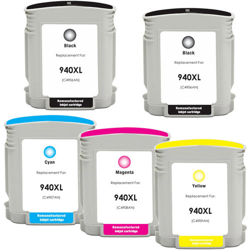 5 Pack - Remanufactured replacement for HP 940XL series ink cartridges