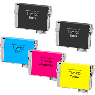 6 Pack Remanufactured Ink Cartridge Replacement for Epson 126 3 Black, 1 Cyan, 1 Magenta, 1 Yellow
