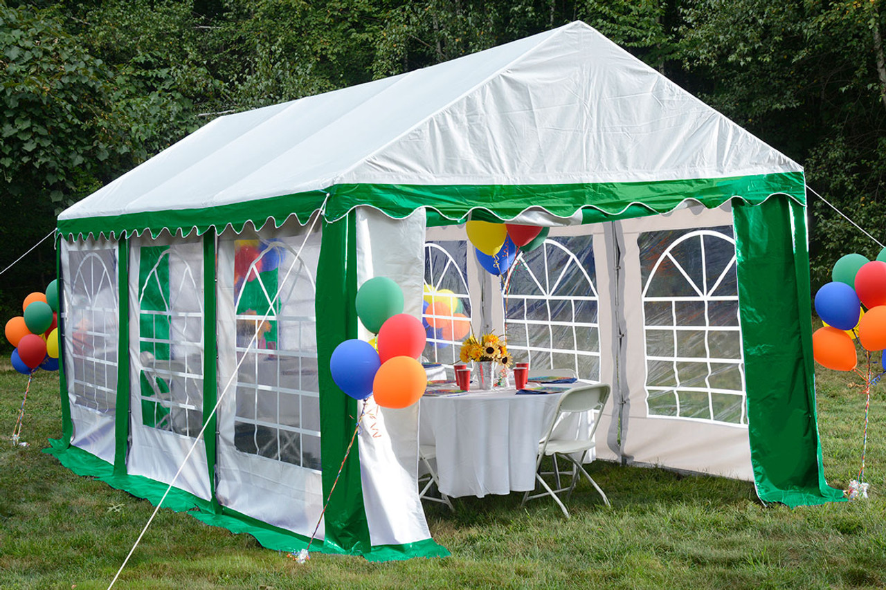 10x20 Party Tent, 8-Leg Galvanized Steel Frame, Green/White with Enclosure  Kit & Windows