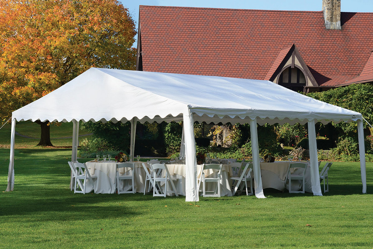 20x20 Party Tent 8 Leg Galvanized Steel Frame White Cover