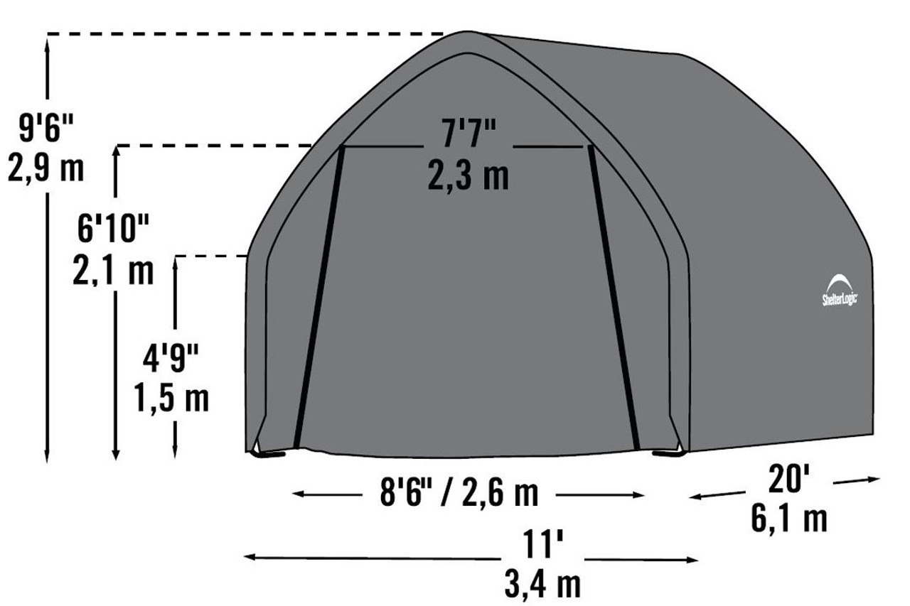 11x20x9 Alpine Style Suv Small Truck Shelter Grey Shelters Of New England