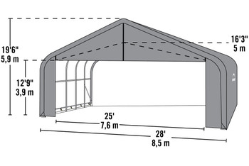 28' Wide x 20' High Peak