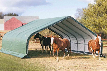 22x20x10 Peak Style Run-In Shelter Green