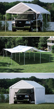 "10x20 Canopy 1-3/8"" 8-Leg Frame White Cover, Enclosure & Extension Kit"