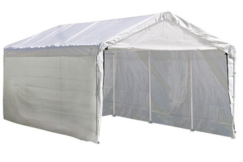 "10x20 Canopy 2"" 8-Leg Frame White Cover, FR Rated Enclosure Kit"