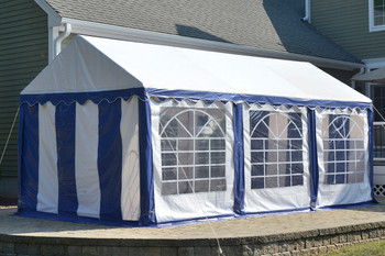 10x20 Party Tent, 8-Leg Galvanized Steel Frame, Blue/White with Enclosure Kit & Windows
