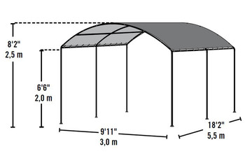 "10x18 Monarc Canopy, 2"" Steel Black Frame, Sandstone Cover - OUT OF STOCK"