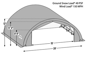 ShelterTech SP Series 28' Wide Round Available in Multiple Heights - Galvanized Frame