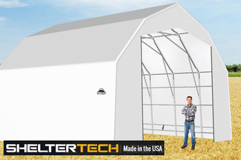 ShelterTech SP Series 25' Wide Barn Available in Multiple Heights - Galvanized Frame