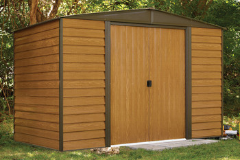 Woodridge 10' x 6' Electro Galvanized Steel - Coffee / Woodgrain