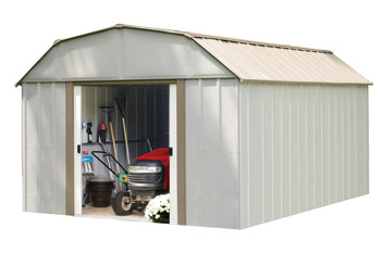 Lexington 10' x 14' Electro Galvanized Steel - Taupe / Eggshell Gambrel