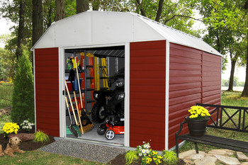 Red Barn 10' x 14' Electro Galvanized Steel - Red / Eggshell Gambrel