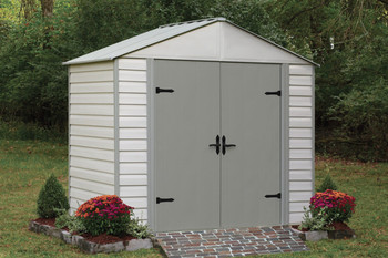 Viking® 8' x 5' Vinyl Coated Steel - Stoney / Creamy Vanilla High Gable