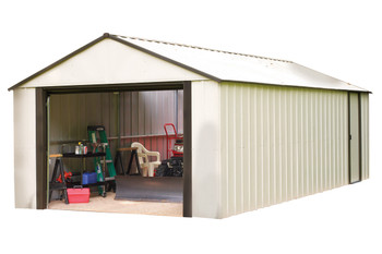 Murrayhill 12' X 24' Vinyl Coated Steel - Coffee / Almond High Gable