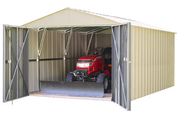 Commander 10' x 25' Hot Dipped Galvanized Steel - Eggshell High Gable