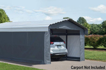 Grey Fabric Enclosure Kit For 12x20 Arrow Carport