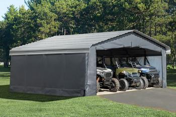 Grey Fabric Enclosure Kit For 20x20 Arrow Carport