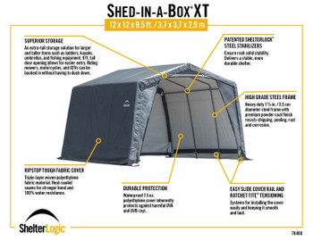 "XT Shed-In-A-Box 12x12x9'6"" Peak Gray"