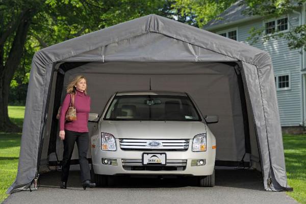 12x16x8 Peak Style Garage in a Box Grey