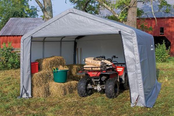 12x12x8 Peak Style Storage Shed Grey