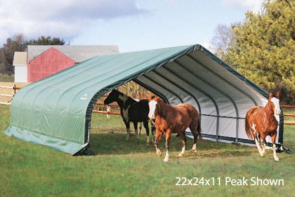 22x24x13 Peak Style Run-In Shelter Green