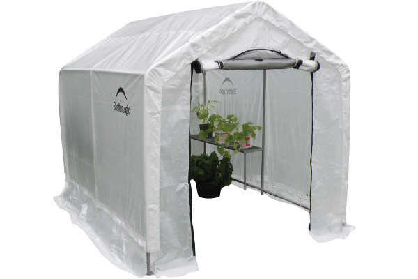 """6x8x6'6"""" Peak Style Organic Growers Greenhouse with integrated shelving"""