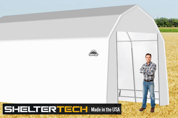 ShelterTech SP Series 12' Wide Barn Available in Multiple Heights - Galvanized Frame