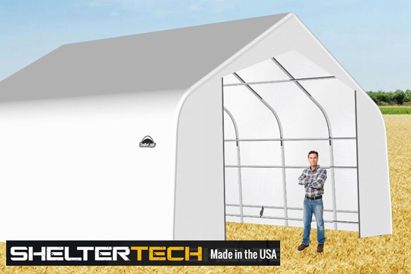 ShelterTech SP Series 24' Wide Peak Available in Multiple Heights - Galvanized Frame