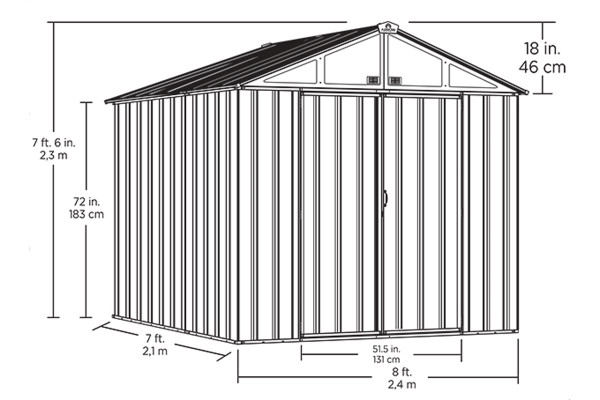 EZEE Shed® , 8x7, High Gable, 72 in walls, vents Charcoal & Cream