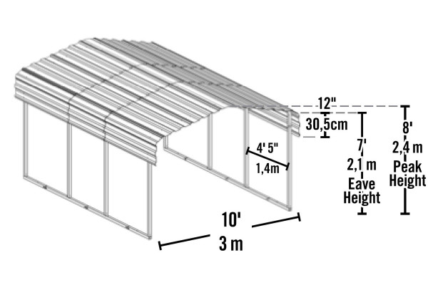 10' Wide x 7' High Arrow Metal Carport