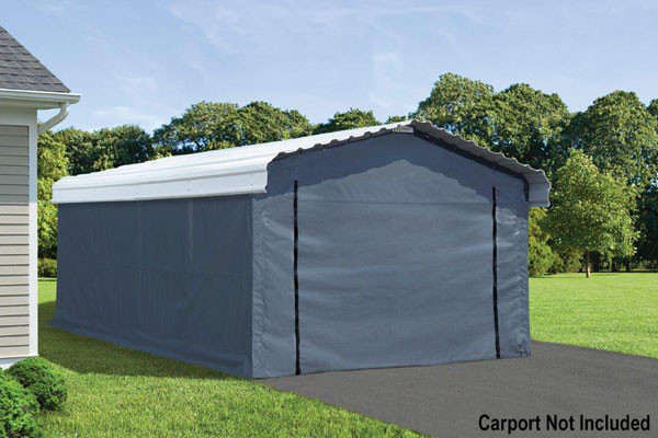 Grey Fabric Enclosure Kit For 12x20 Arrow Carport Shelters Of New England