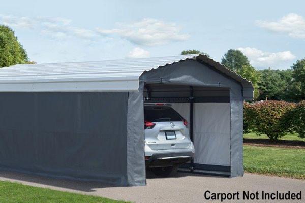 Grey Fabric Enclosure Kit For 12x20 Arrow Carport