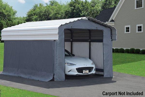 Grey Fabric Enclosure Kit For 10x15 Arrow Carport