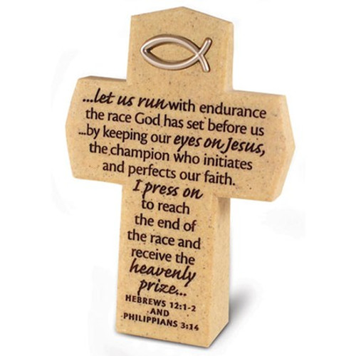 Philippians 3:14 | Let Us Run With Enduance Cross | Desk Accessory | Positive Stationery