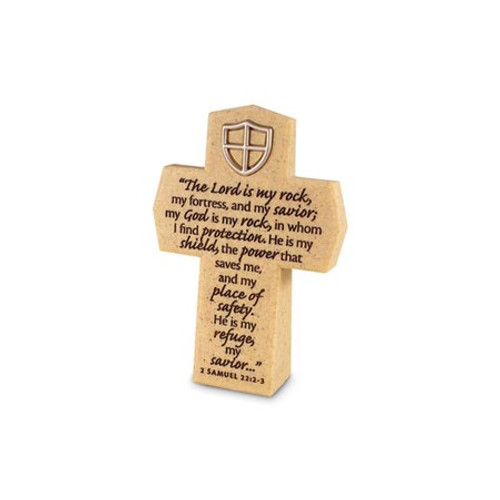 Cross | Desk Accessory | Christian Decor | Positive Stationery | 2 Samuel 22:2-3 |The Lord is My Rock